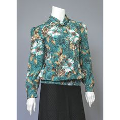 Paisley Blouse - 80s Blouse - Floral Print Secretary Blouse - Puff Sleeve High Collar Blouse - Teal White Brown Floral Blouse - 1980s Blouse  #vintage #etsy #blouses #1980s #clothing #slouch #top #tops #puffsleeve #fashion #style #chic #wear #womens #professional #business #office #vtg