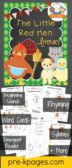 Little Red Hen theme for the pre-k, preschool or kindergarten classroom. Printable literacy and math activities to make learning fun. Little Red Hen Activities, Farm Activities, Preschool Literacy, Preschool Books, Preschool Themes, Preschool Lessons, Traditional Tales, Farm Unit, Farm Theme