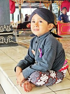 Too Cute !!!   Indonesian boy in traditional Yogyakarta dress