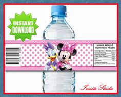 Minnie Mouse Water Bottle Labels  Instand by invitestudioshoppe, $3.95