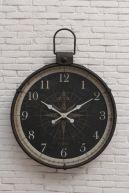 "Creative Co-Op - 34""L x 4""W x 41""H Metal Wall Clock w/ Compass Image"
