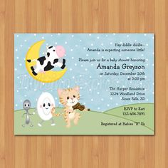 nursery rhyme baby shower invitations by