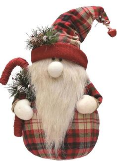 "16.25"""" Red and White Plaid Sitting Santa Gnome with Candy Cane Plush Table Top Christmas Figure"