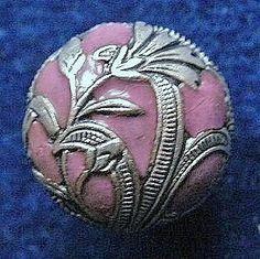 Antique button, Art Nouveau champleve enamel with a floral design, convex, c1880-1910.. £4.00, via Etsy.