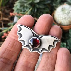 Bat ring. Sterling Silver rings. Garnet Ring. Red Garnet. by Arrok