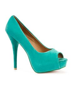 Turquoise (Blue) Suedette Peep Toe  | 223061348 | New Look
