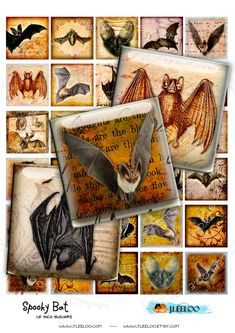 Digital collage sheet SPOOKY BAT 1.5 inch square for goth scary halloween bat skull raven pendant - craft instant download printable - qu379 by byJLeeloo on Etsy