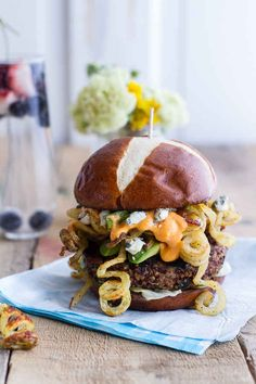 Buffalo-Blue Curly Cheese Fry and Crispy Black Bean Burgers