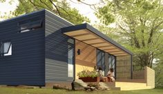 Architecture, Minimalist Wooden Prefab Studio Ideas With Wooden Canopy Terrace And Maple Flooring Also Black Wall Exterior Finish: Minimalist Prefab Studio Ideas Backyard Canopy, Diy Canopy, Canopy Outdoor, Window Canopy, Tree Canopy, Porch Canopy, Hotel Canopy, Canopy Bedroom, Fabric Canopy