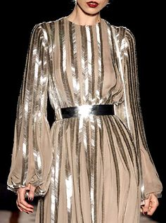 Chevron bugle beads silver belt flash shine lines dress Nicholas Oakwell runway