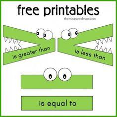 Math Concepts Series: FREE Printables and Ideas for Teaching Greater Than Less Than - Homeschool Giveaways Math Classroom, Kindergarten Math, Teaching Math, Teaching Time, Teaching French, Teaching Spanish, Google Classroom, Classroom Themes, Second Grade Math
