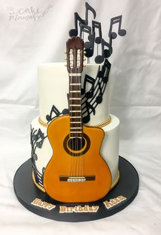 Tortas/pasteles b tourism studies - Tourism Guitar Birthday Cakes, Birthday Cakes For Teens, Themed Birthday Cakes, Country Birthday Cakes, Happy Birthday Cakes, Music Themed Cakes, Music Cakes, Unique Cakes, Creative Cakes