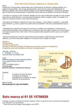 Seminario de Costos y gastos en tu restaurante / DF / 5 Oct 2012