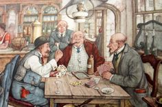 anton pieck prints | ANTON PIECK - The Card Players - PRINT - perfect for framing
