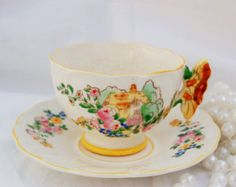 JAPAN Rare Butterfly Handle Vintage China Teacup and Saucer /Yellow Accents/Shabby Chic Treasure