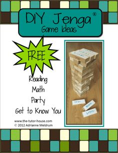DIY Jenga Game Ideas.  Jenga can become one amazing educational tool!  Here are some suggested games.