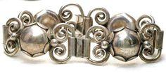Antique Georg Jensen USA Heavy Wide Sterling Silver Bracelet