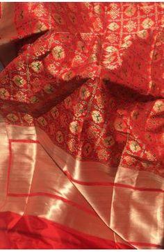 Red Handloom Banarasi Pure Katan Silk Patola Design Saree Kalamkari Saree, Banarasi Sarees, Bridal Lehenga, Saree Wedding, Saree Dress, Silk Dress, Silk Sarees Online, Pure Silk Sarees, Beautiful Saree