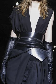 Asymmetrical dress with leather gloves & wrap belt; fashion details // Ann Demeulemeester Fall 2015