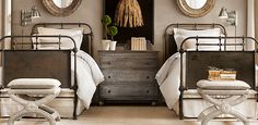 Dresser finish and beds - French Academie Metal Beds Rust | Restoration Hardware