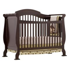 Stork Craft Valentia Fixed Side Convertible Crib In espresso for boy's room, or white for girl's room