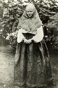 Peasant woman from Kostroma, Russia, in her best dress