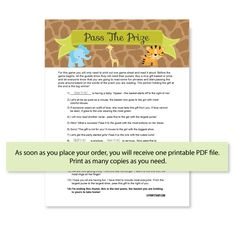 Printable Pass The Prize baby shower Game in a cute Jungle Theme! Instant download - PrintItBaby.com