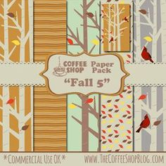 "The CoffeeShop Blog: CoffeeShop ""Fall 5"" Digital Paper Pack!!! free :)"