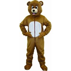 No one will be able to resist cuddling up to this sweet Brown Bear Costume from Dress Up America. This set includes a jumpsuit with a a zipper closure in the front and head mask with mesh ventilation at the mouth.
