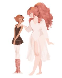 Human ballerina Pearls and their teachers! ||| Pearl and Rose Quartz ||| Steven Universe Fan Art by punziella on Tumblr