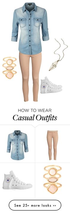 """cute casual outfit"" by amcoffeyshop on Polyvore featuring H&M, LE3NO, Converse, Monsoon and maurices"
