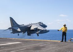 MEDITERRANEAN SEA (Aug. 20, 2016) An AV-8B Harrier, from 22nd Marine Expeditionary Unit (MEU), takes off from flight deck of amphibious assault ship USS Wasp (LHD 1) Aug. 20, 2016. 22nd MEU, embarked on Wasp, conducting precision air strikes in support of  Libyan Government of National Accord-aligned forces against Daesh targets in Sirte, Libya, as part of Operation Odyssey Lightning. (Mass Communication Specialist 3rd Class Rawad Madanat)