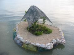 Floating plastic bottle Island . . he he he he