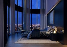 Luxury Condo Bedroom With Large Windows.
