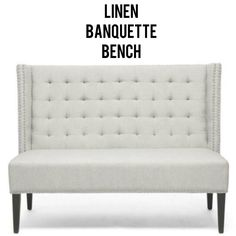 This popular high-backed style is featured in this striking banquette bench along with black stained legs, light beige linen upholstery, flame retardant cushions, silver metal nail head trim and wingback sides for that elegant flair. Banquette Bench, Dining Bench, Mid Century Modern Furniture, Contemporary Furniture, Flame Retardant, Nail Head, Settee, Hollywood Regency, Light Beige