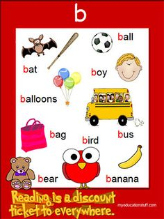 b phonics poster - FREE & PRINTABLE - Ideal for Word Walls and Individual Literacy Plans.