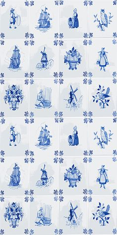 Royal Delft Tile Play Wallpaper