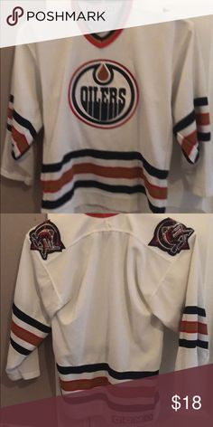 NHL CCM Oilers Jersey sewn on emblem boys youth sm Used very good - worn so 3ea2f0db0