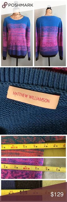 "Matthew Williamson size large knit sweater! Matthew Williamson size large knit sweater! Great condition; gently worn. Colors are blue, pink, black with gold (see up close photos above). Approximate flat measurements: bust 19"", waist 17.5"", length 25.5"". I don't trade. Reasonable offers welcome. Thanks! 😊 Matthew Williamson Sweaters Crew & Scoop Necks"