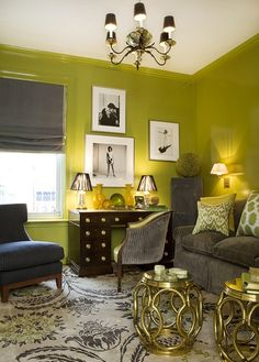 chartreuse walls + gray + black