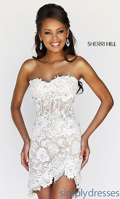 Sherri Hill short formal gown. Boho bride wedding dress. Boho ...