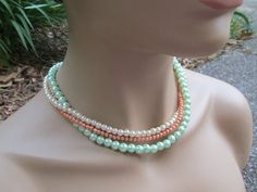 Bridesmaid Jewelry Multistrand Orange and Mint Green by AWRdesigns, $30.00