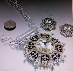 New Fleur de Lis Necklace and Earring Set Silver Gold   eBay