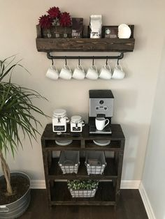 Industrial Coffee Bar Combination / Coffee Bar / Coffee Station / Coffee Bar Table / Coffee Storage/ Purchase Pair and Save! Home Decor Kitchen, Bar Table, Coffee Bar Home, Coffee House, Bar Cabinet, Home Decor, Industrial Coffee Bar, Industrial Coffee, Coffee Table