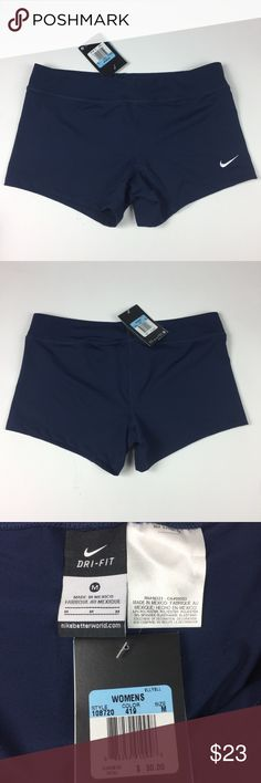 Nike Dri-Fit booty shorts womens size medium navy These are authentic NEW with tag womens nike dri-fit booty shorts. They are clean with no flaws and have been kept in a smoke free home. The nike logo is embroidered onto the shorts. They are made of 82% polyester and 18% spandex for stretch. check out my shop for other options like this one! Nike Shorts