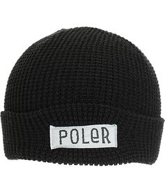 Cop some stylish camp vibes with a Poler text logo patch embroidered on the fold-over cuff and a thermal knit design for comfortable warmth.