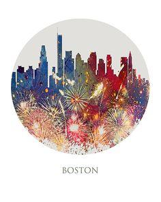 Horizonte, horizonte de Boston, Massachusetts, Estados Unidos horizonte, paisaje urbano, lámina, cartel, arte moderno, pintura, impresiones Giclée, arte de la pared, acuarela