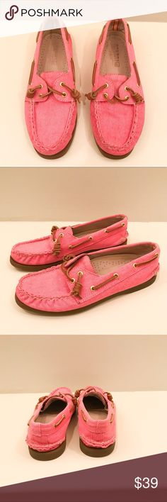 J. Crew for Sperry Neon Pink Topsiders Adorable Sperry Topsiders from their limited edition capsule collection with J. Crew!  Vibrant neon pink color. Very minimal wear on sole, in excellent condition. J. Crew Shoes Flats & Loafers