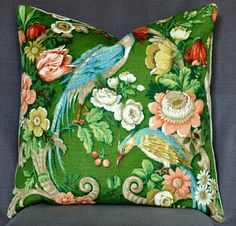 Large Cushion in Vintage Sanderson Exotic Bird Fabric