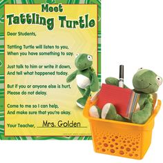 Provide students with a good listener for their problems. Students can tell their concerns to the soft, plush turtle, or write or draw them on the cards to place in the basket. You can address serious issues and track recurring problems by reading the cards throughout the day. The Activity Guide includes a reproducible page to help students determine whether to tell the turtle or the teacher.